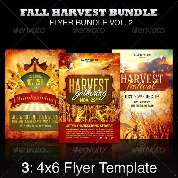 Fall Harvest Flyer Template Bundle