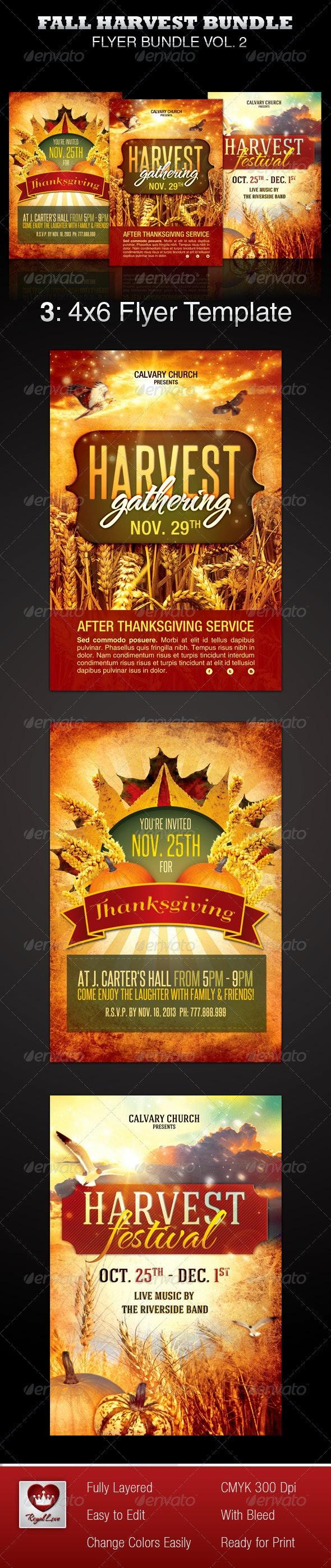 Fall Harvest Flyer Template Bundle - Church Flyers
