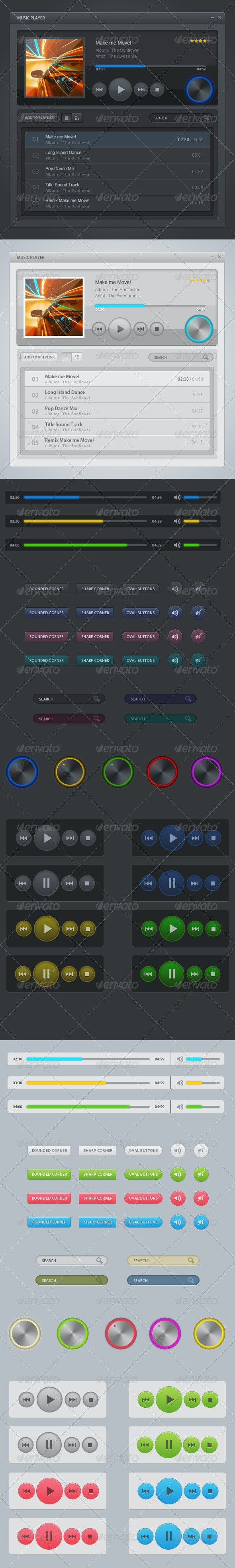 Classic Music Player UI - User Interfaces Web Elements