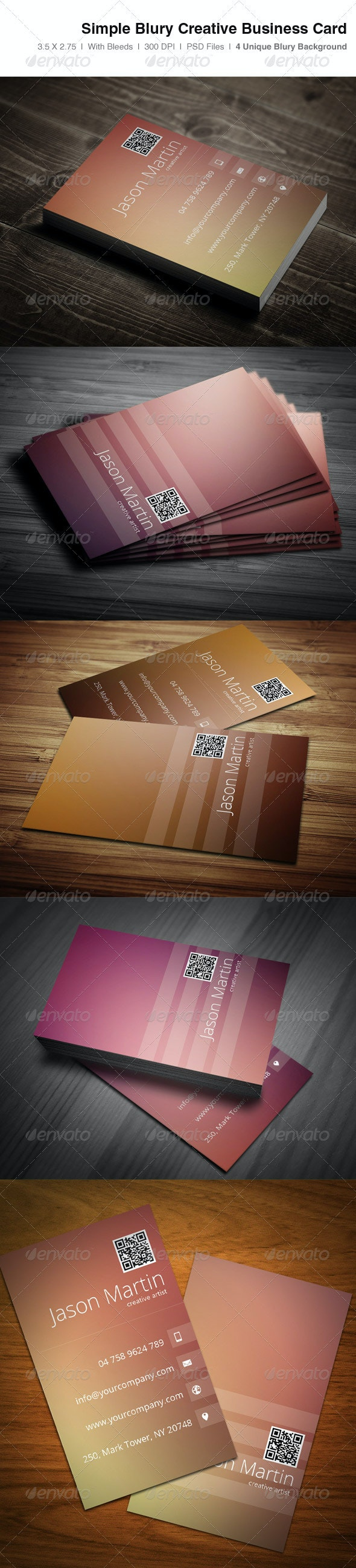 Simple Blury Creative Business Card - Creative Business Cards