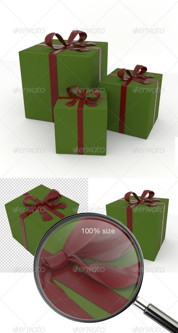 Christmas Present Box Set - Objects 3D Renders