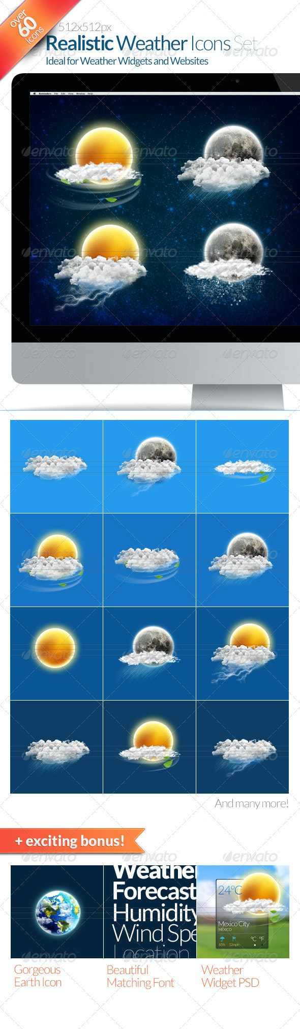60+ Realistic Weather Icons Set - Web Icons