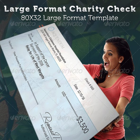 Large Format Charity Check Template