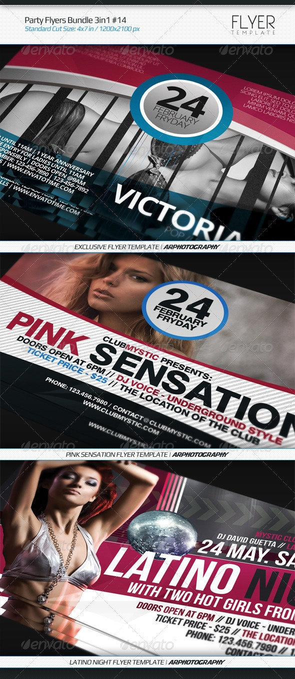 Party Flyers Bundle 3in1 #14 - Flyers Print Templates