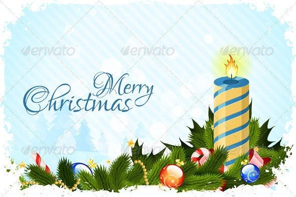 Grungy Christmas Card with Decorations - Christmas Seasons/Holidays