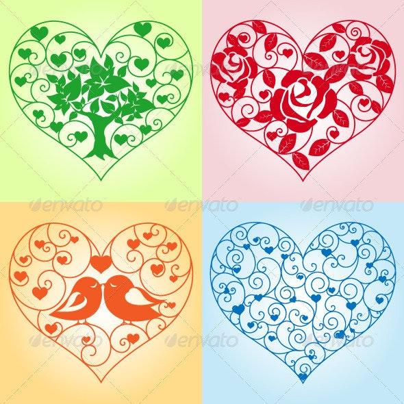 Set of Beautiful Floral Hearts - Decorative Symbols Decorative