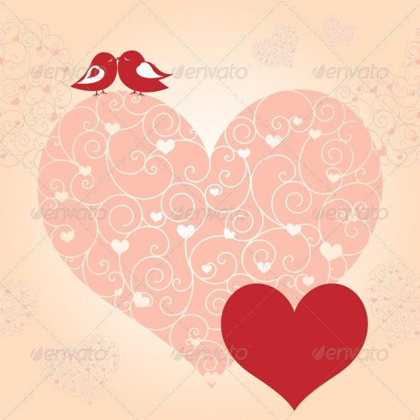 Red Valentine Lovebird Greeting Card - Valentines Seasons/Holidays