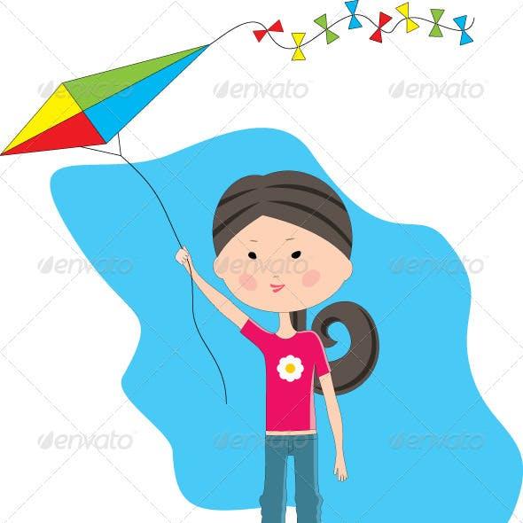Cartoon Girl with a Kite