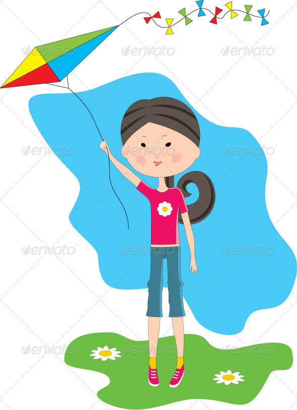 Cartoon Girl with a Kite - People Characters