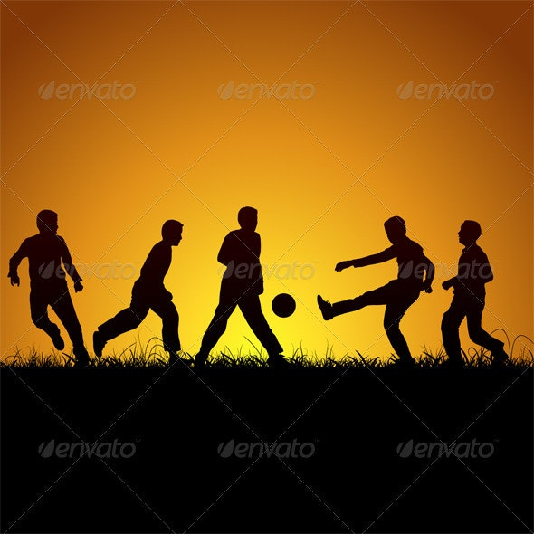 Five Boys Silhouette And Football - People Characters