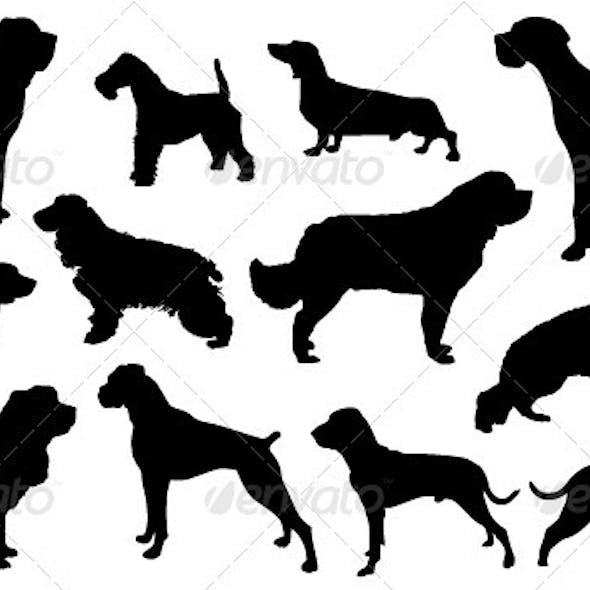 Vector Silhouette Collection of Dogs