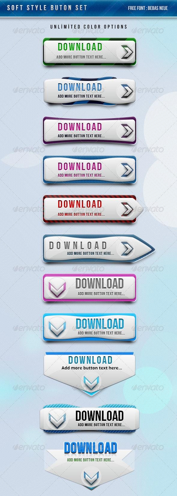 Soft Style Button Set !!!! Unlimited Colors - Buttons Web Elements