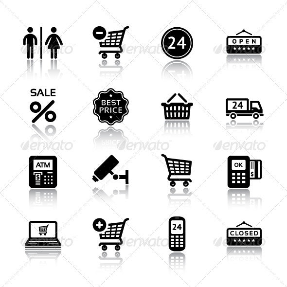 Set Pictograms Supermarket Services, Shopping Icon - Business Icons