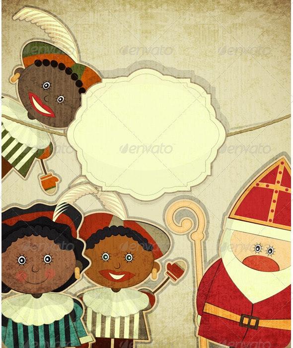 Christmas card with Dutch Santa Claus - Sinterklaas - Christmas Seasons/Holidays