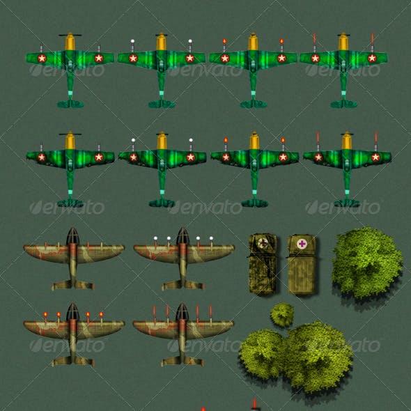 2D Airplane Game Sprite Sheet