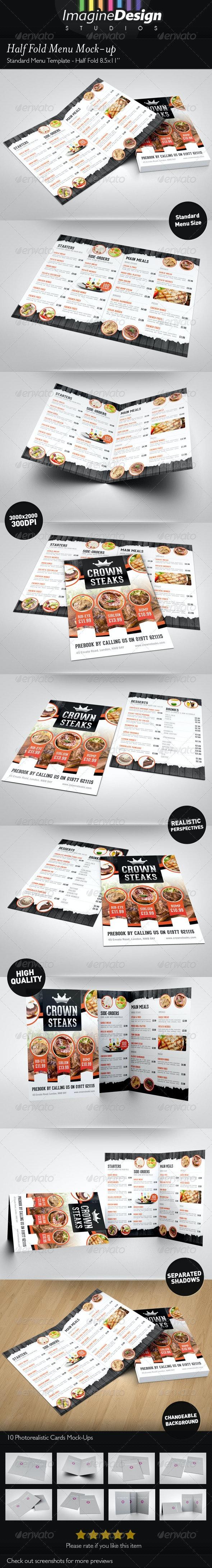 Half Fold Menu Mock-up - Brochures Print