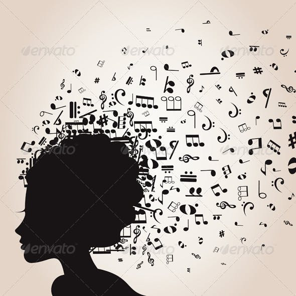 Girl's Head and Musical Notes