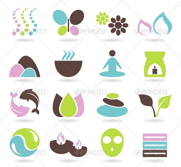 Spa Icons Set - Flowers & Plants Nature