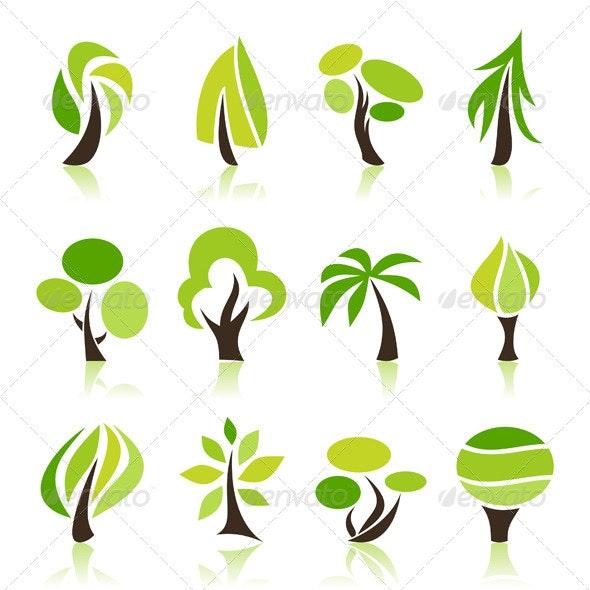 Tree Icons Set - Flowers & Plants Nature