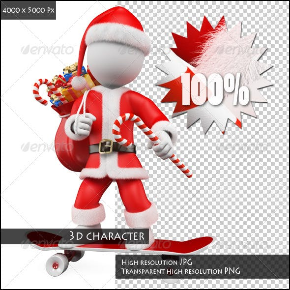 3D White People. Santa Claus Riding Skateboard