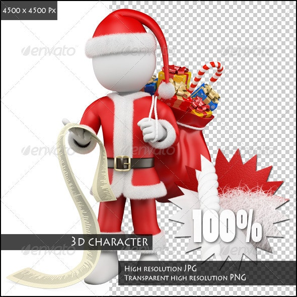 3D People. Santa Claus Reading the List of Gifts - Characters 3D Renders