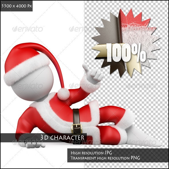 3D White People. Santa Claus Lying with Thumb Up - Characters 3D Renders