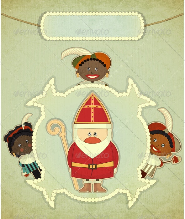 Christmas Card with Dutch Santa Claus - Sinterklaas - Christmas Seasons/Holidays