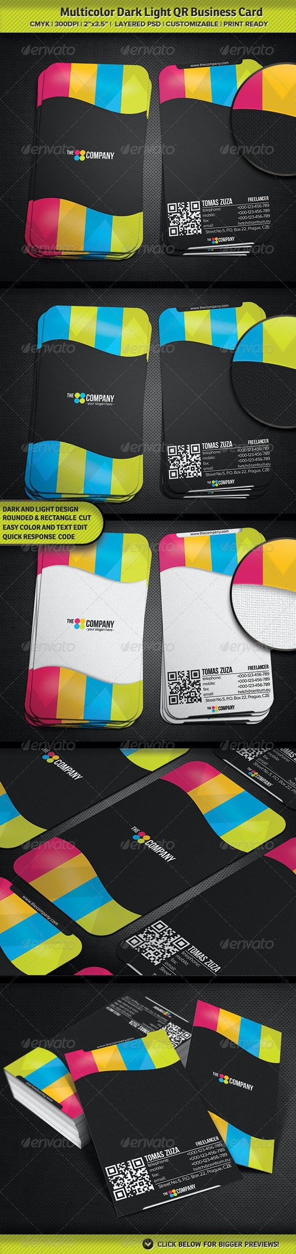 Multicolor Dark Light QR Business Card - Creative Business Cards