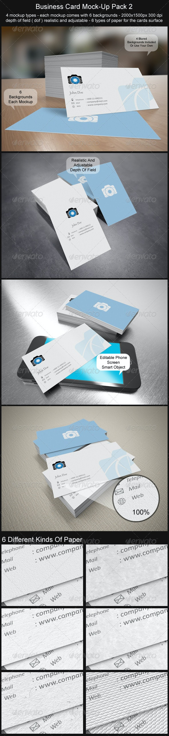 Business Card Mock-Up Pack 2 - Business Cards Print