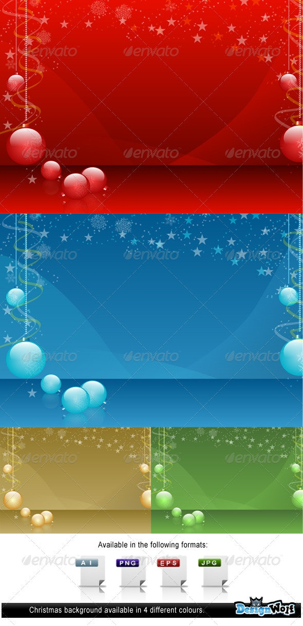 Christmas Background In Four Colours - Christmas Seasons/Holidays
