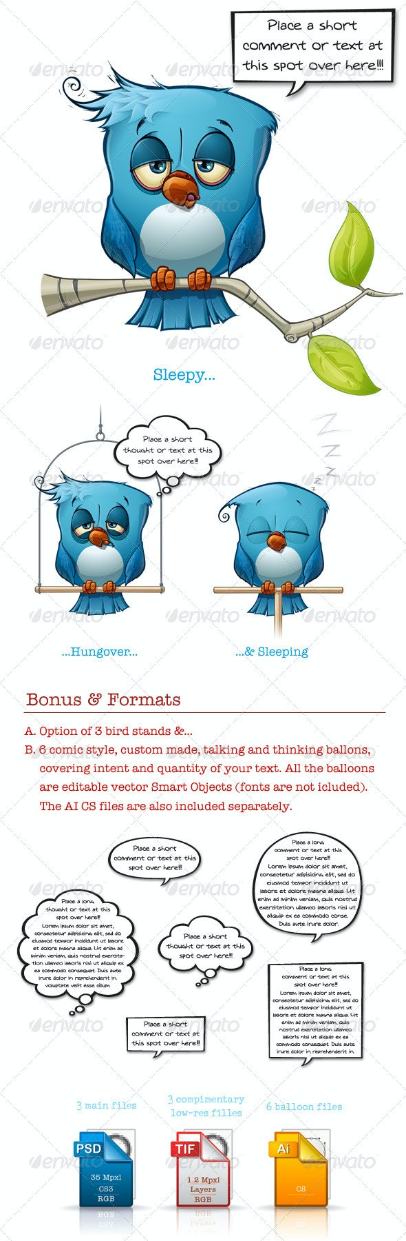 Blue Bird Sleepy-Hangover-Sleeping - Animals Illustrations