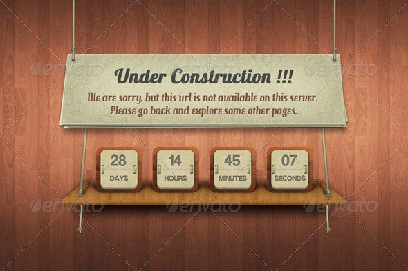 Under Construction - 404 Pages Web Elements