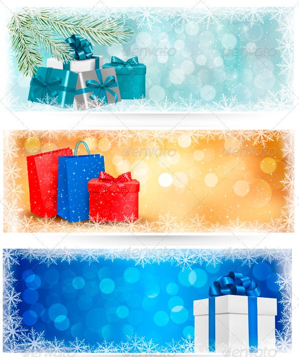 Three Christmas Banners with Gift Boxes  - Christmas Seasons/Holidays