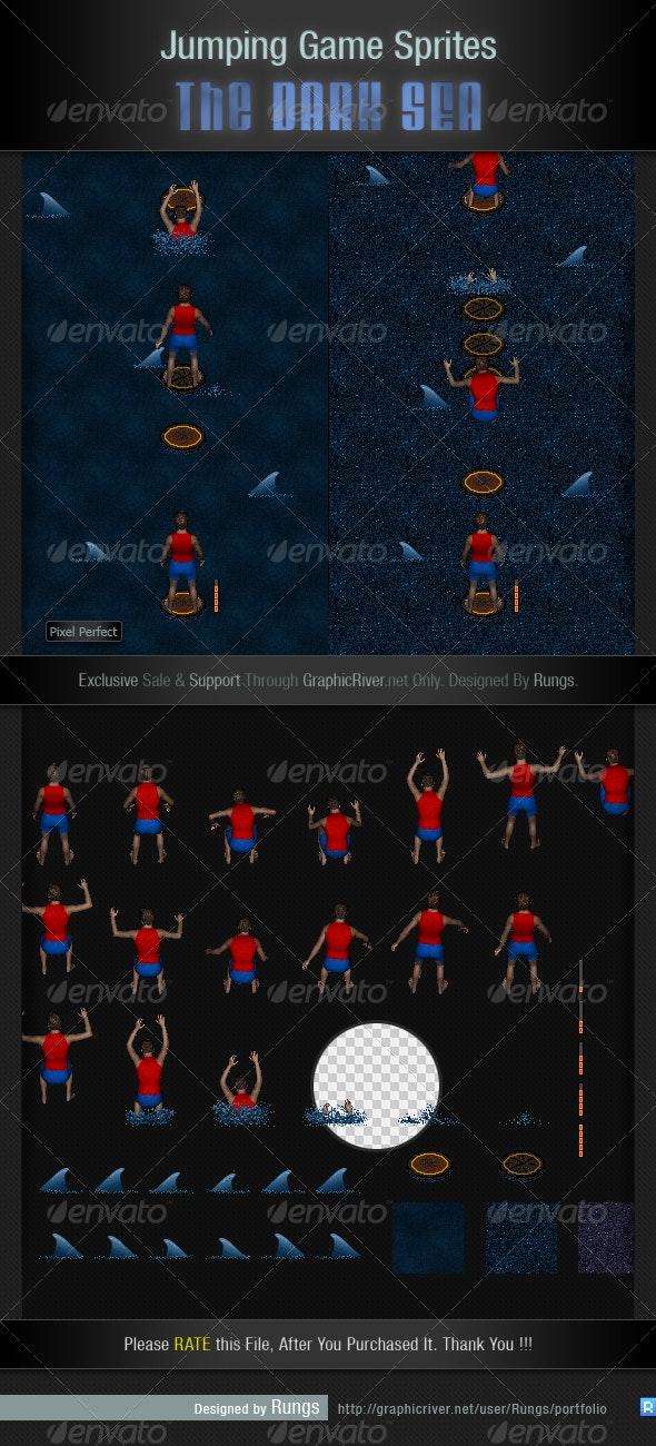Jumping Game Sprite Sheet - The Dark Sea - Sprites Game Assets