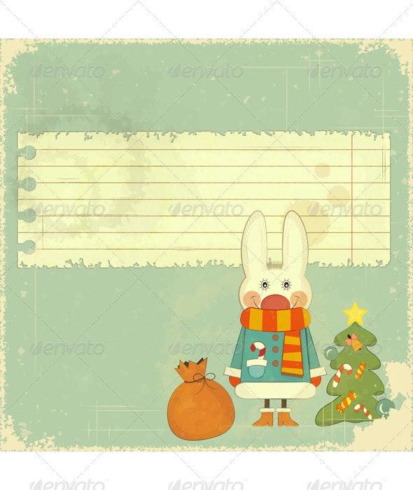 Christmas Card with White Hare - Christmas Seasons/Holidays