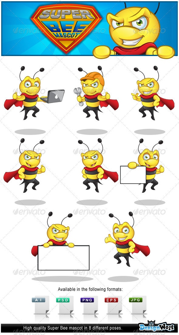 Superhero Bee Mascot - Characters Vectors