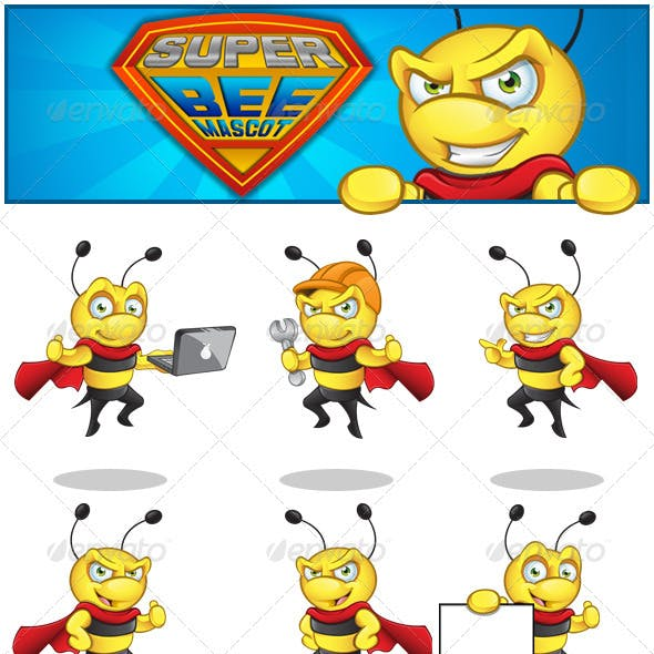 Superhero Bee Mascot