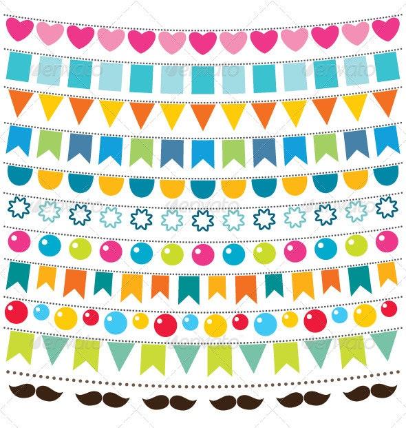 Multicolor Vector Bunting Set - Birthdays Seasons/Holidays