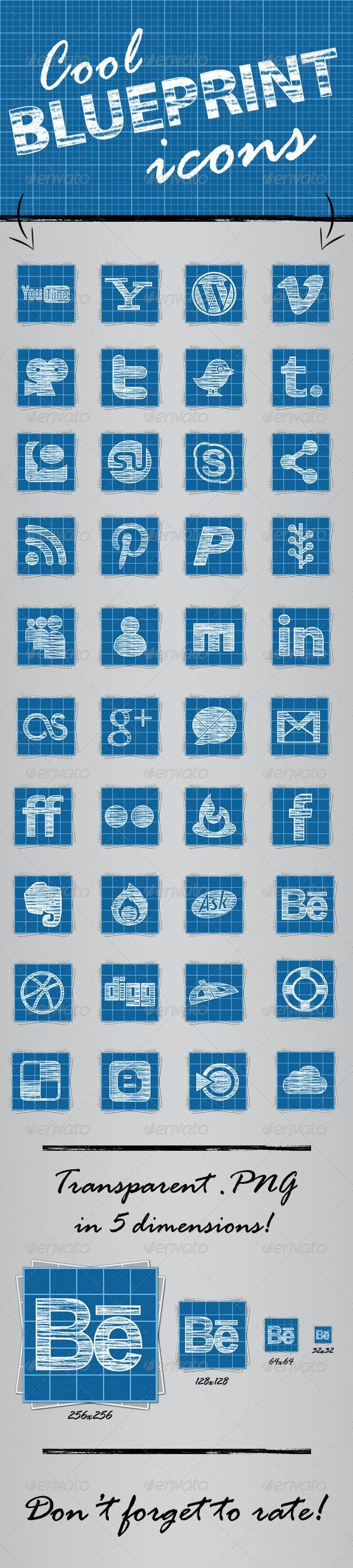 40 Cool Blueprint Social Media Icons - Web Icons