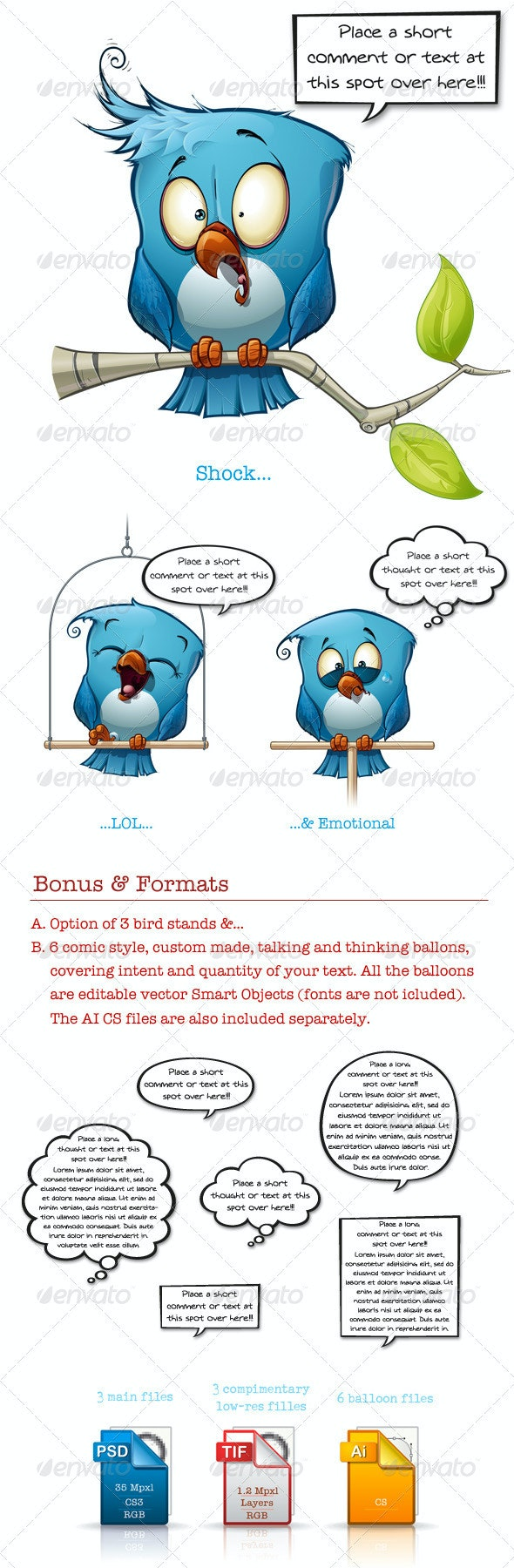 Blue Bird Shock-LOL-Emotional - Characters Illustrations