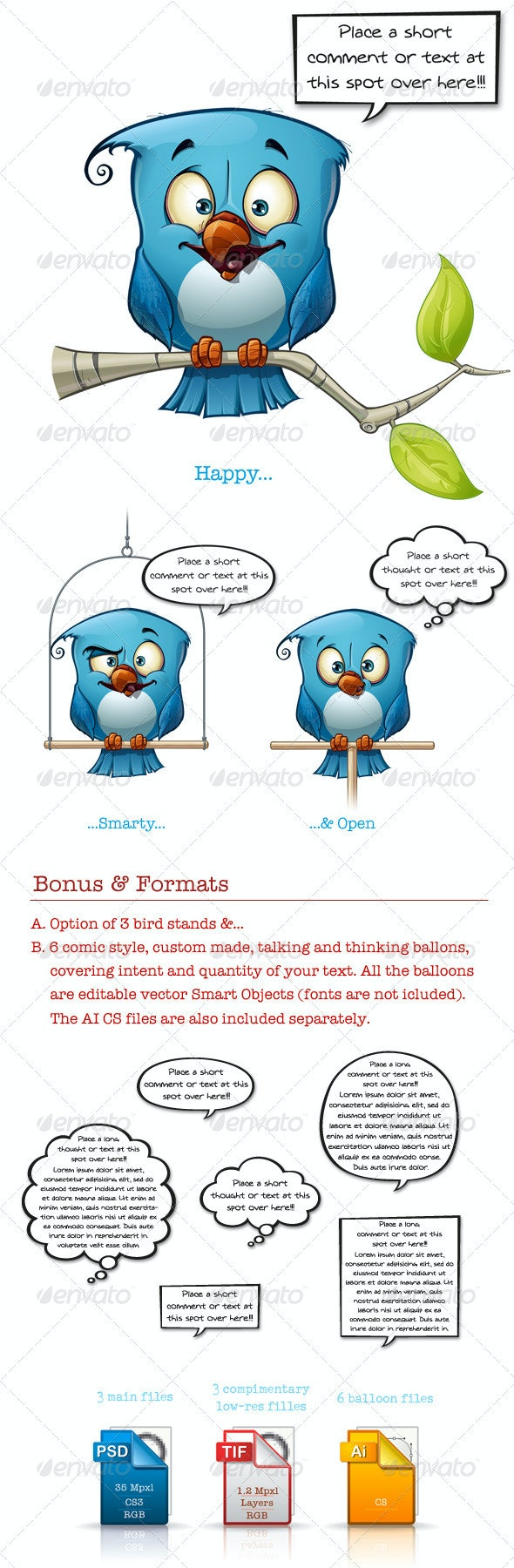 Blue Bird Happy-Smarty-Open - Characters Illustrations
