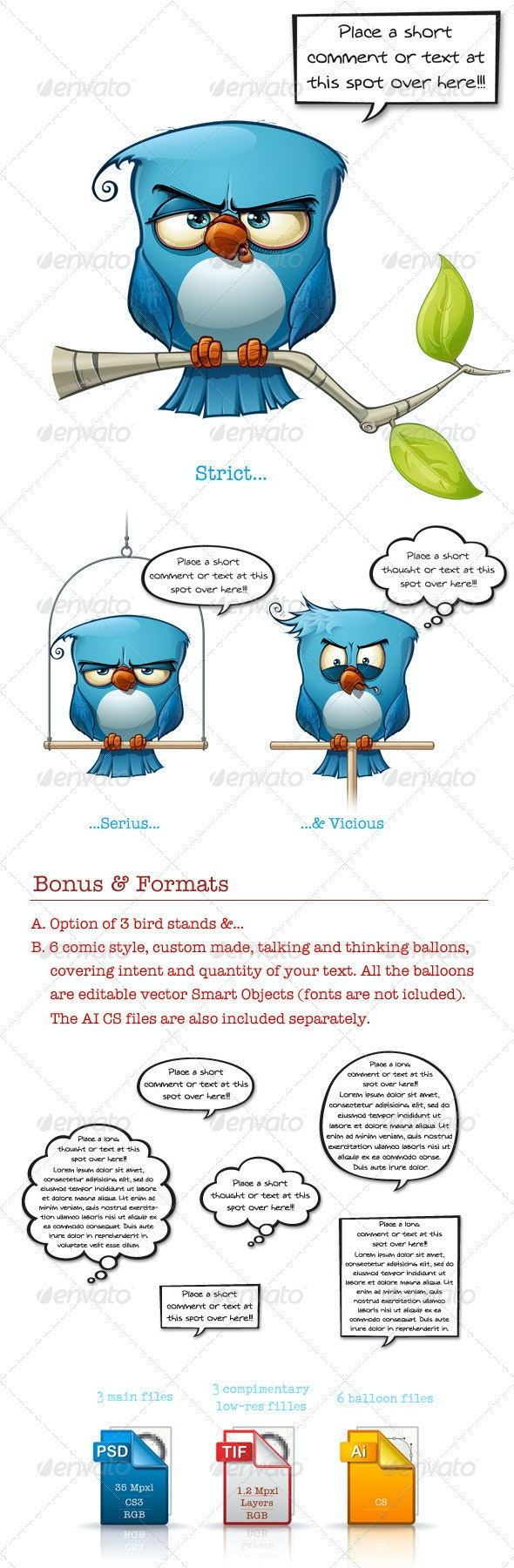 Blue Bird Strict-Serius-Vicious - Characters Illustrations