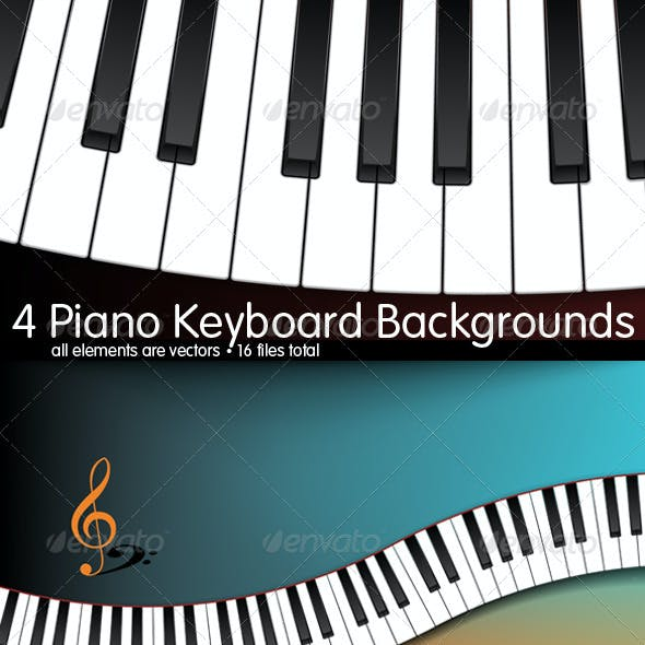 4 Curved Piano Keyboard Backgrounds