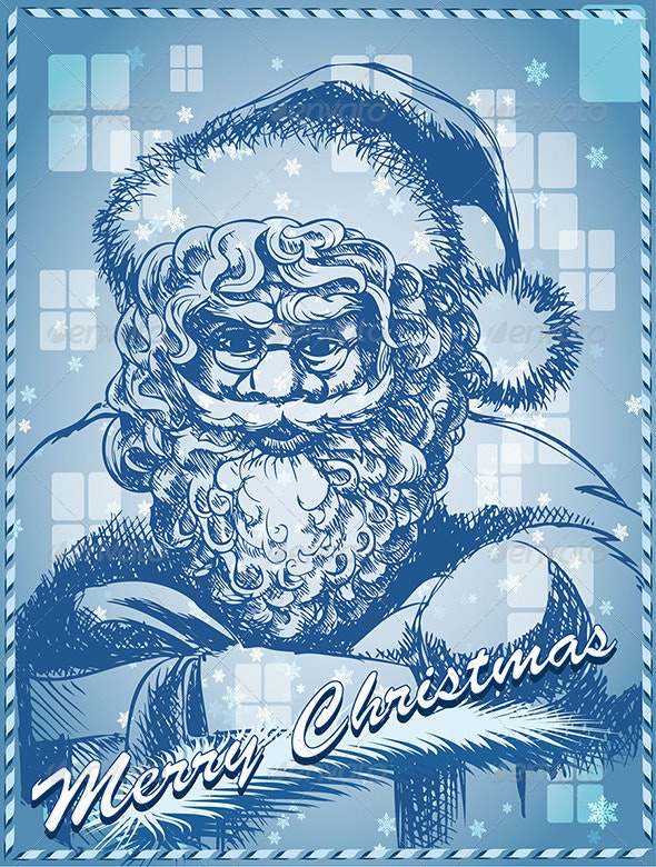 Santa with Gift in Blue - Christmas Seasons/Holidays