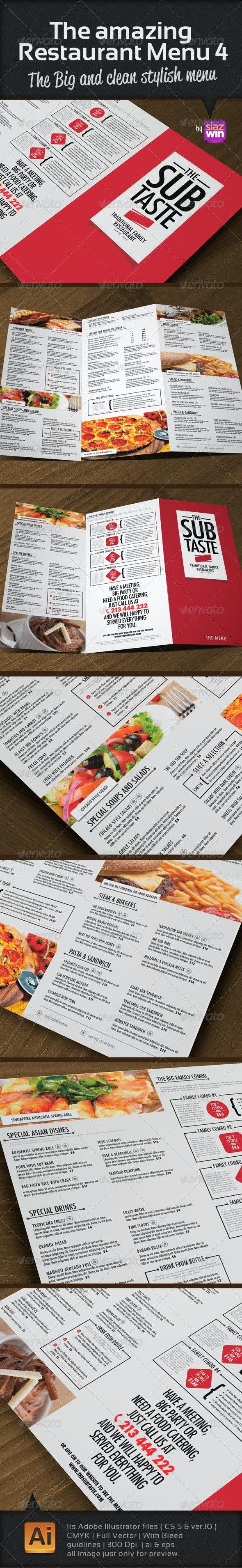 The Restaurant Menu 4 - Food Menus Print Templates
