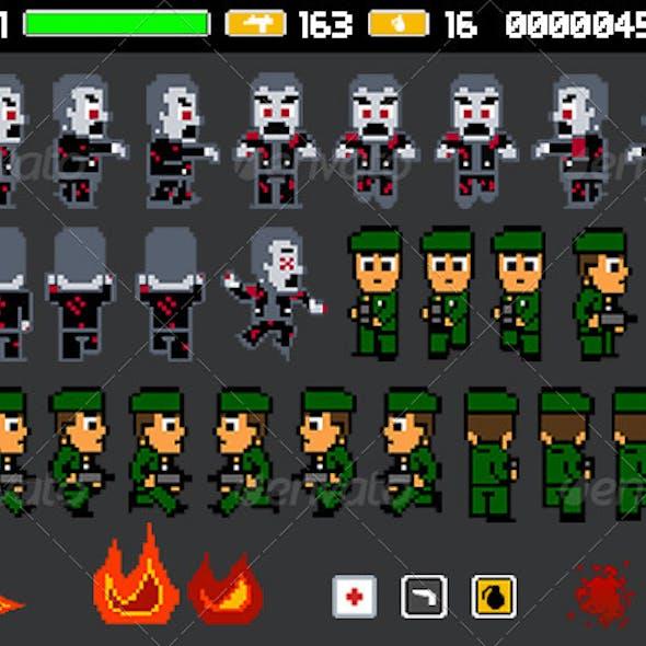 8 Bit Zombie Sprite Sheet