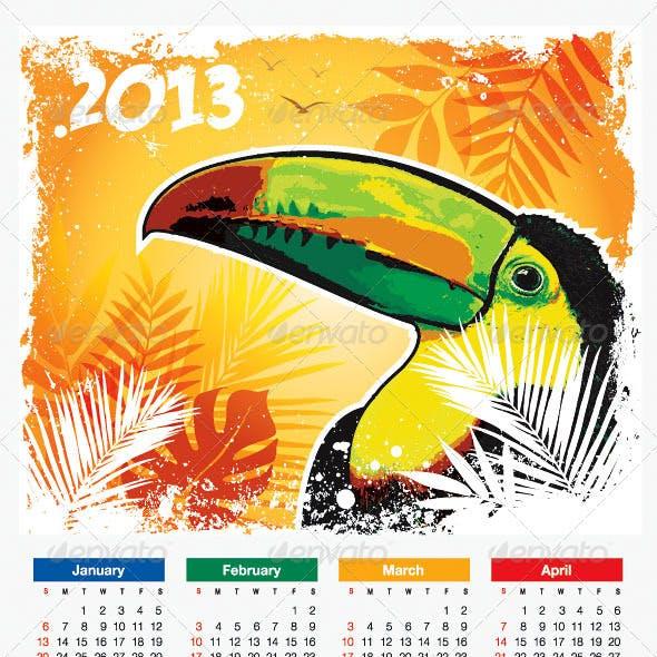 Tropical Bird 2013 Calendar