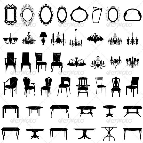 Furniture Silhouette Set - Man-made Objects Objects