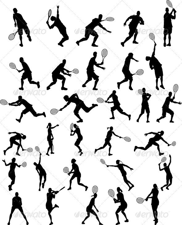 Set of Tennis Players Silhouettes - Sports/Activity Conceptual