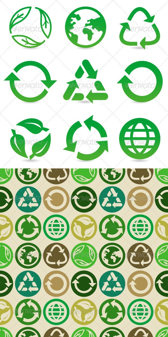Vector Set with Recycle Signs and Pattern - Nature Conceptual
